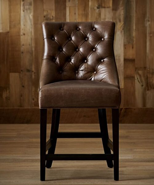 Tufted Leather Bar Stool | Rustic Bar Furniture