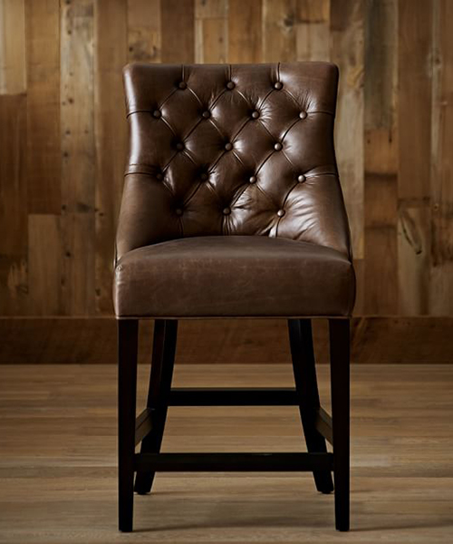 Tufted Leather Bar Stool | Rustic Bar Furniture