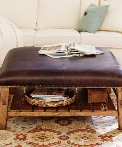 Caden Leather Rustic Ottoman