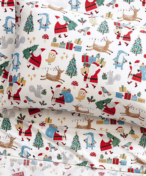 Santa Bedding Set | Kids Woodland Christmas Bedding