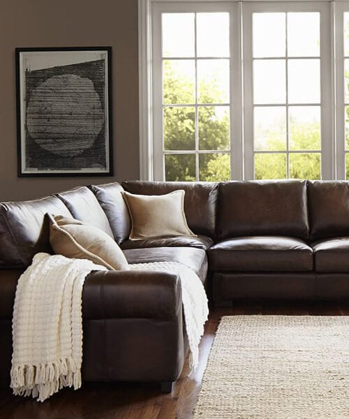 Leather L Shaped Sectional