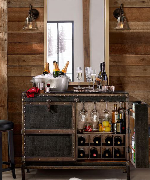 Ludlow Rustic Trunk Bar Cabinet