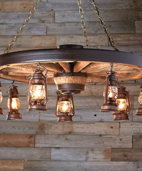 Wagon Wheel Lantern Chandelier