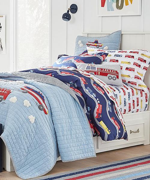 Wyatt Firetruck Quilt Bedding