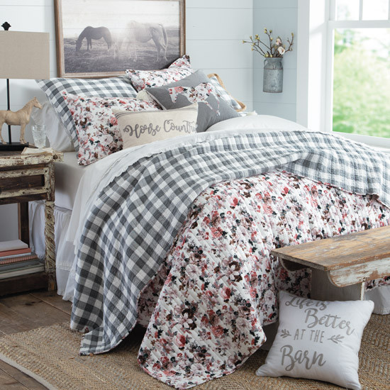 Country Floral Girls Horse Bedding