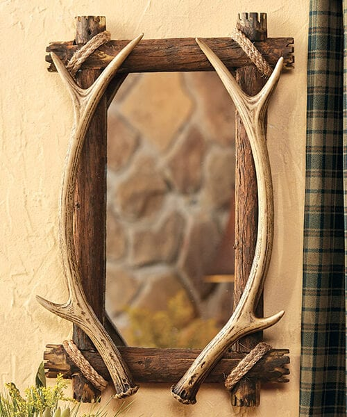 Antler Wood Mirror | Cabin Decor