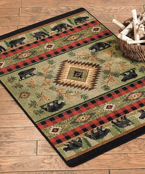 Rustic Bear Rug | Log Cabin Rugs