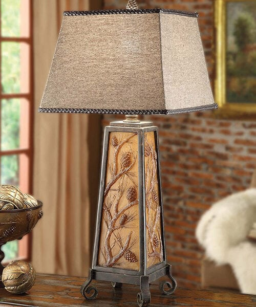 Autumn's Light Pine Cone Rustic Lamp