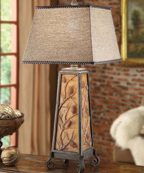 Autumn's Light Pine Cone Rustic Lamp