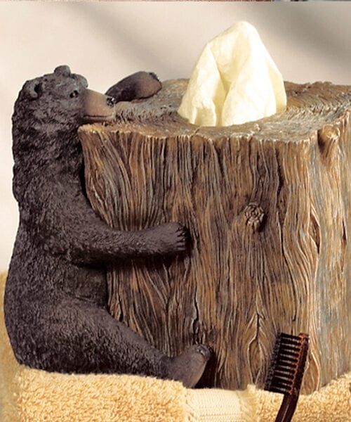 Black Bear Lodge Tissue Box | Cabin & Lodge Bathroom Decor