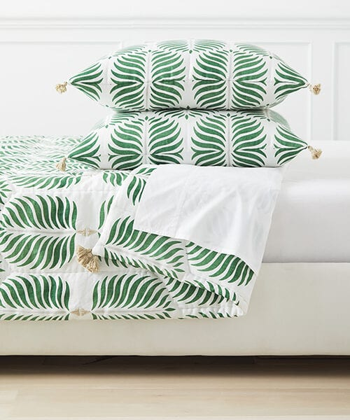Granada Moss Green Quilt | Green Bedding Collection