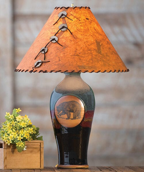 Black Bear Rustic Pottery Table Lamp | Rustic Lighting