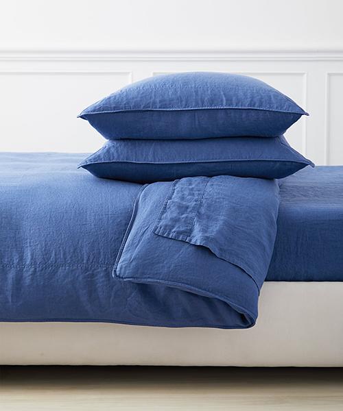 Positano Blue Linen Duvet Cover