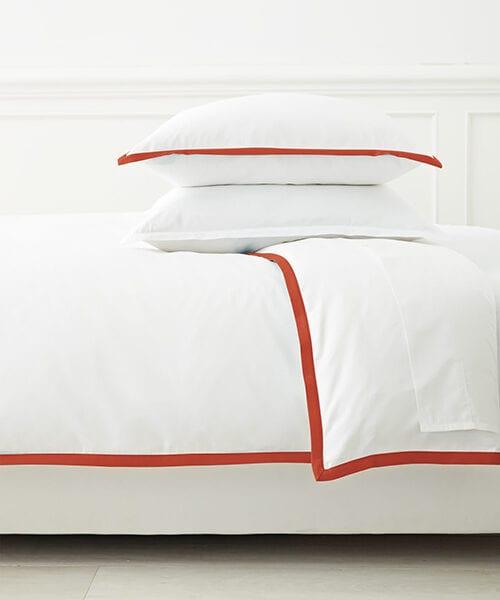 Border Frame Red and White Duvet Cover