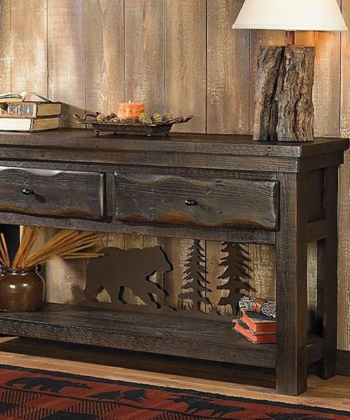 Barnwood Bear Scene Table