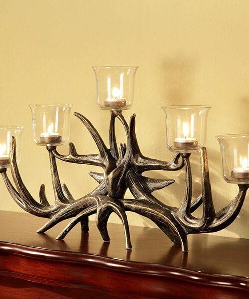 Rustic Deer Antler Candle Holder   Rustic Candle Holders