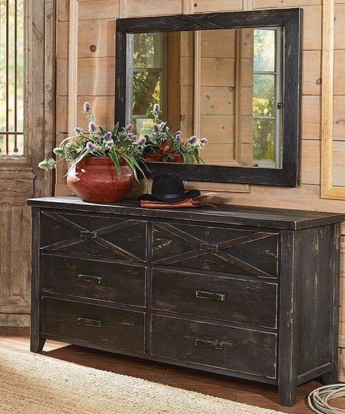 Rustic Reclaimed Barnwood Dresser with Mirror