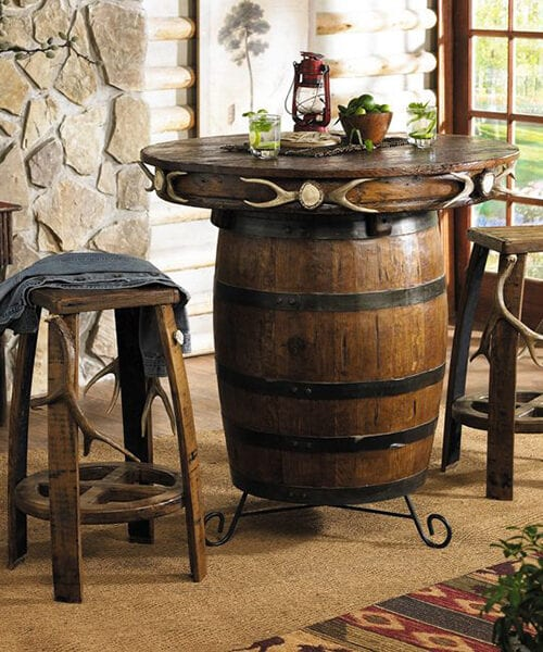 Antler Barrel Pub Table