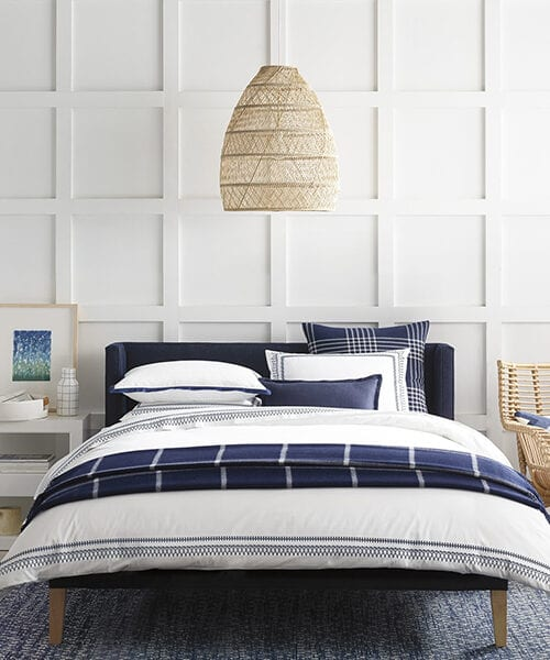 Laurel White and Blue Bedding