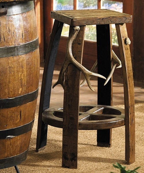 Antler Wood Bar Stool