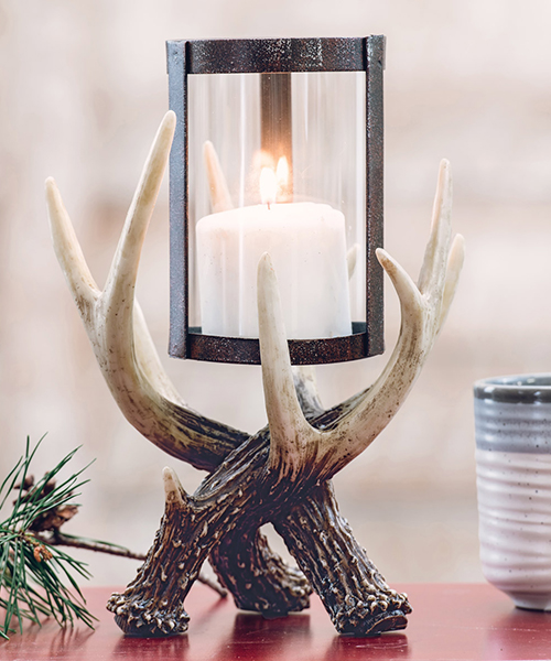 Antler Hurricane Candle Holder | Rustic Lighting