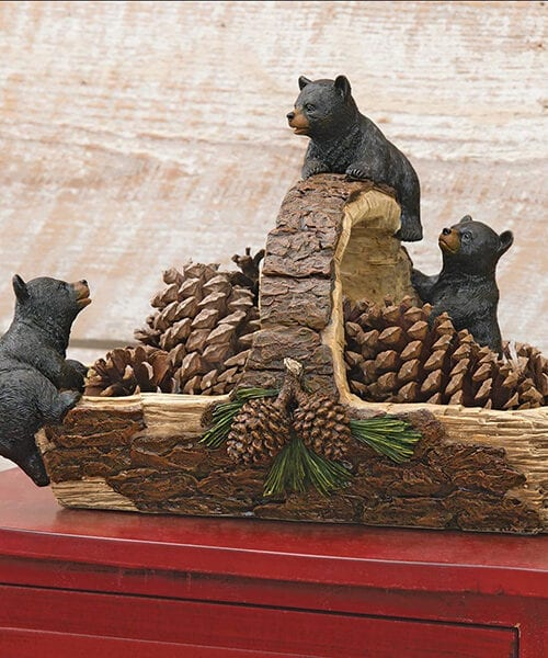 Black Bear Rustic Basket | Cabin Decor | Bear Decor