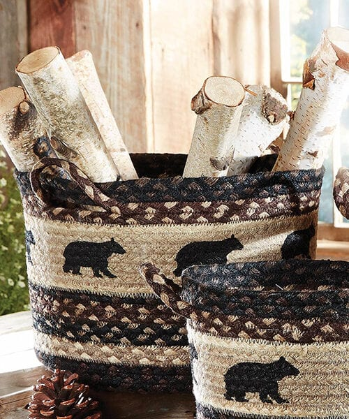 Black Bear Basket | Lodge Decor & Cabin Decor