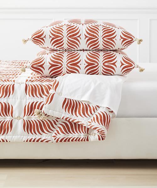 Granada Terracotta Orange Quilt | Botanical Print Quilt