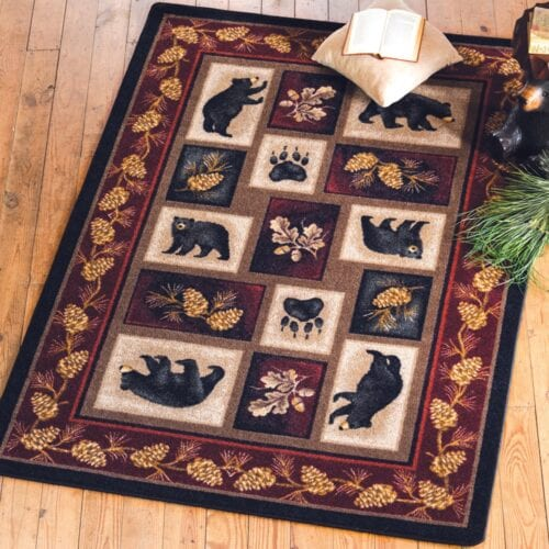 Log Cabin Bear Rug