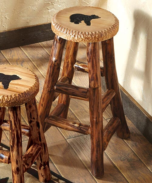 Bear Carved Wood Bar Stool
