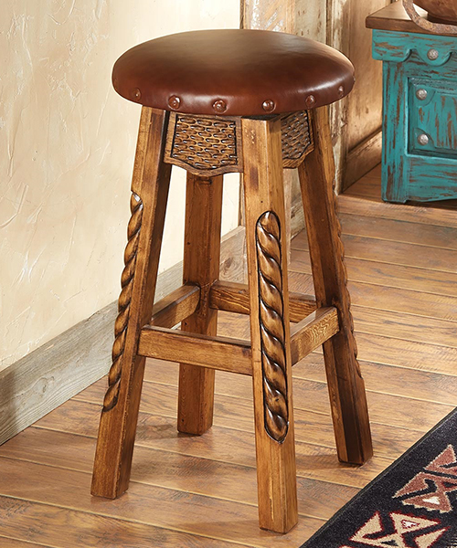 Carved Western Bar Stool