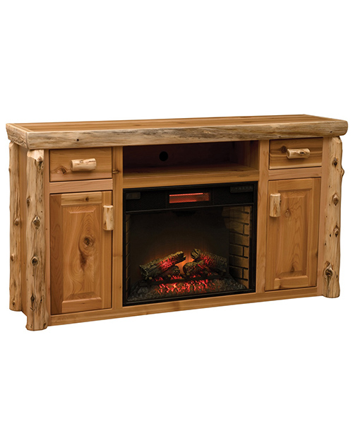Ceder Log Entertainment Center with Fireplace