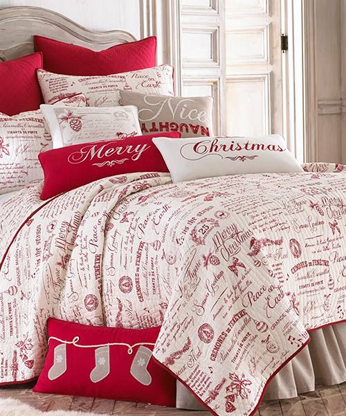 Farmhouse Christmas Bedding | Christmas Patchwork Quilt Bedding