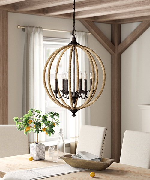 Farmhouse Globe Chandelier