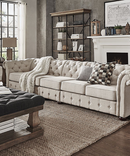 Farmhouse Beige Linen Sofa