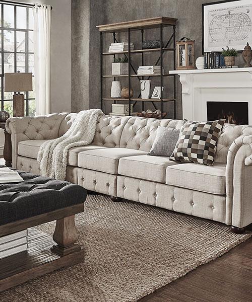 Farmhouse Beige Linen Sofa