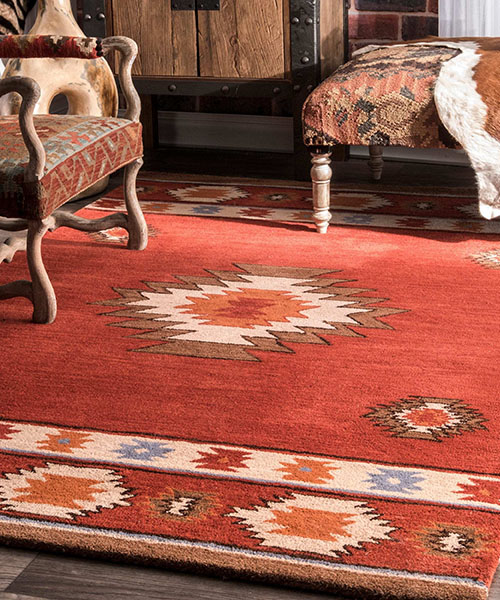 Red Southwestern Wool Area Rug