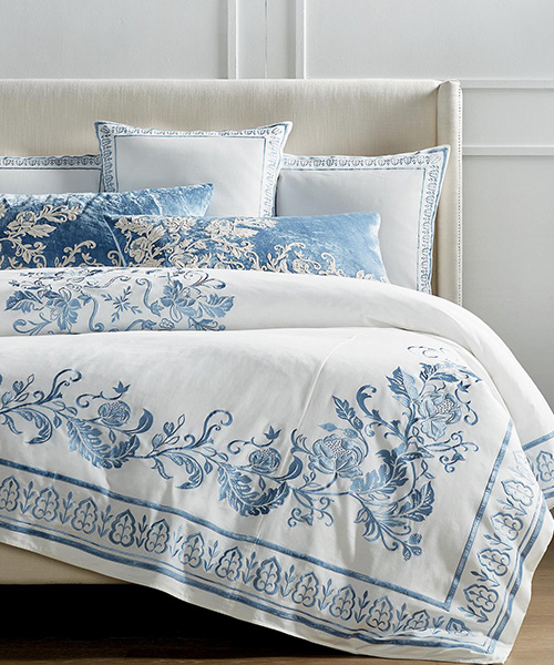 Aviana Blue and White Bedding