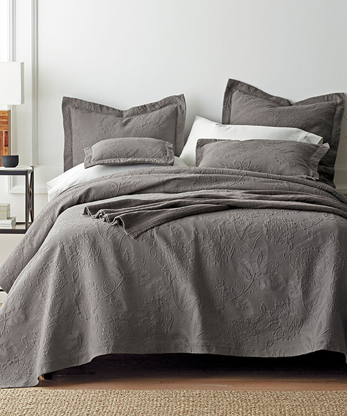 Gray Cotton Coverlet Blanket
