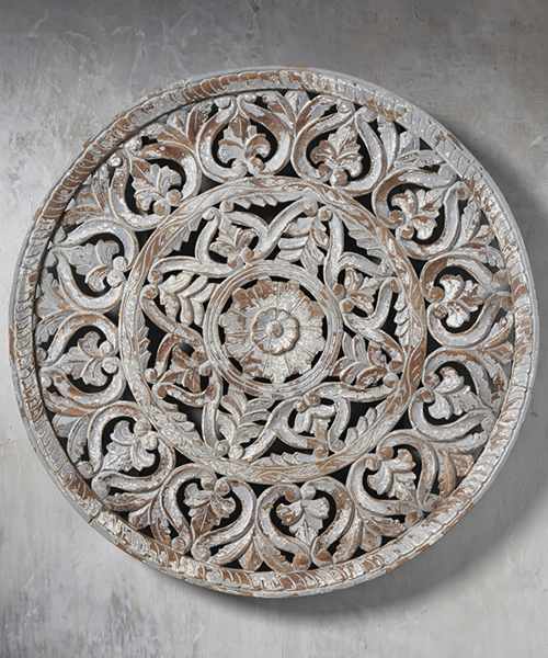 Aisha Circular Carved Wood Panel