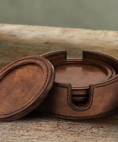 Andres Rustic Leather Coasters