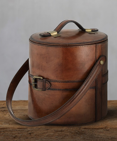 Andres Rustic Leather Ice Bucket