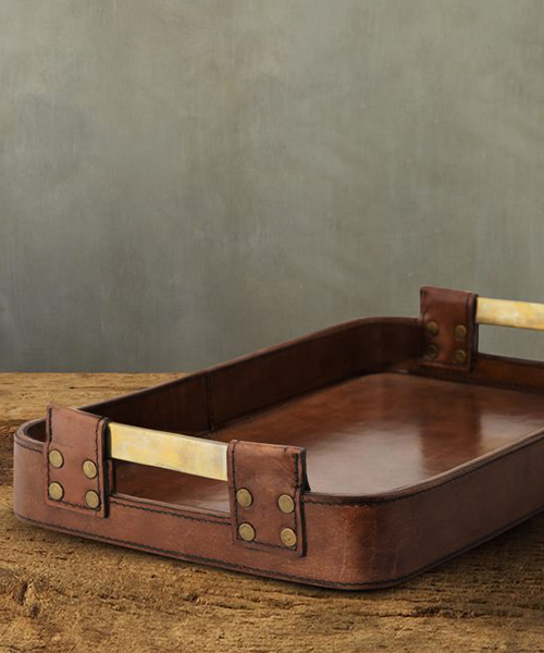 Andres Rustic Leather Tray