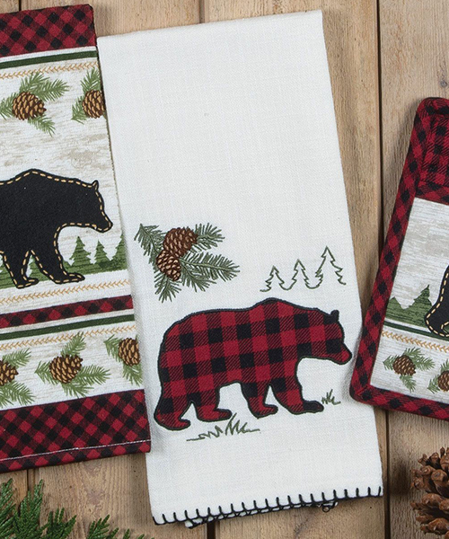 Bear Cabin Buffalo Check Towel