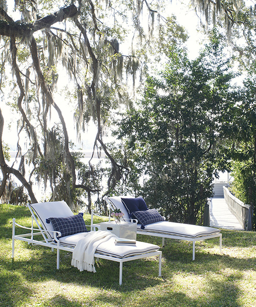 Coastal Wrought Iron Chaise