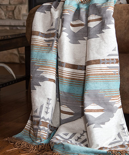 Dakota Rustic Turquoise Throw