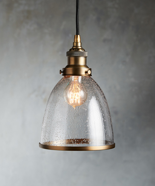 Industrial Antique Brass Cloche Pendant