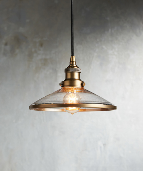 Industrial Flare Antique Brass Pendant