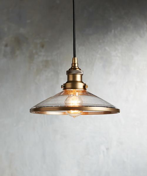 Industrial Flare Antique Brass Pendant