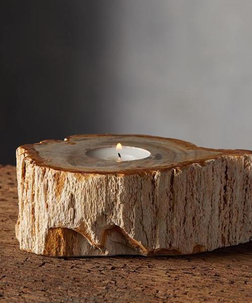 Petrified Wood Tealight Holder